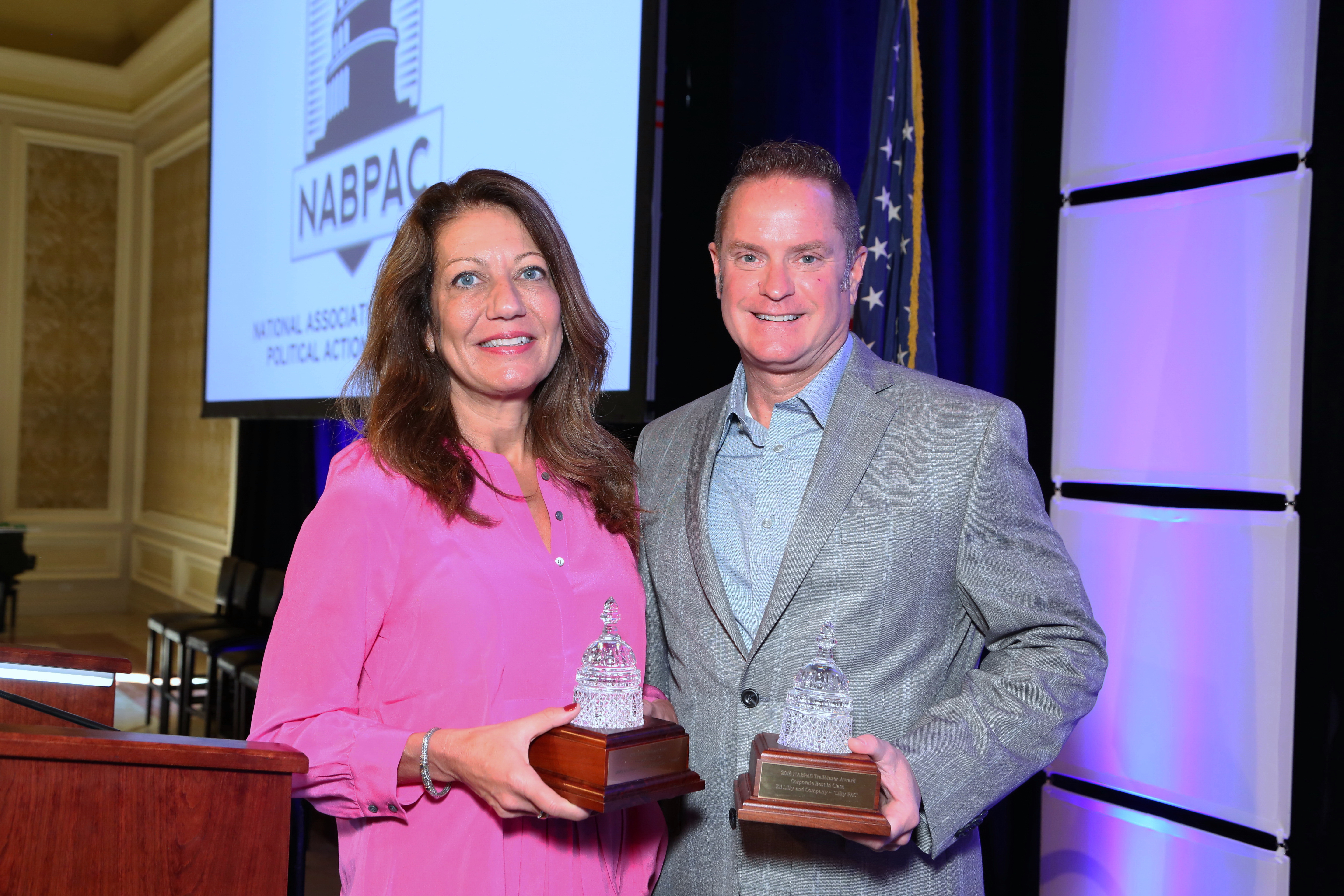 2018 Trailblazer Award Winners; Jeanne Slade (American College of Emergency Physicians) and Ed Sagebiel (Eli Lilly & Co.)